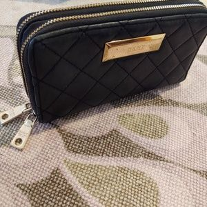 DKNY Double Zip Quilted Wallet, Black